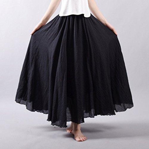 Juleya 85 Dames cm Femme Couche Confortable Jupes Jupe cm Lin Doux 20 Couleurs Maxi Coton Longues Taille Jupes Noir Jupe Double 95 Haute UwqUg7