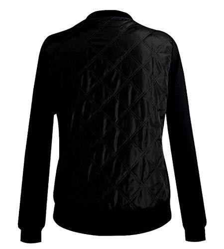 Giacca Bomber Colore Puro Casual Autunno Cerniera Bobo Elegante Primaverile Fashion Coat Especial Cappotto Donna Estilo 88 Nero Giaccone Con q1pww4XxE