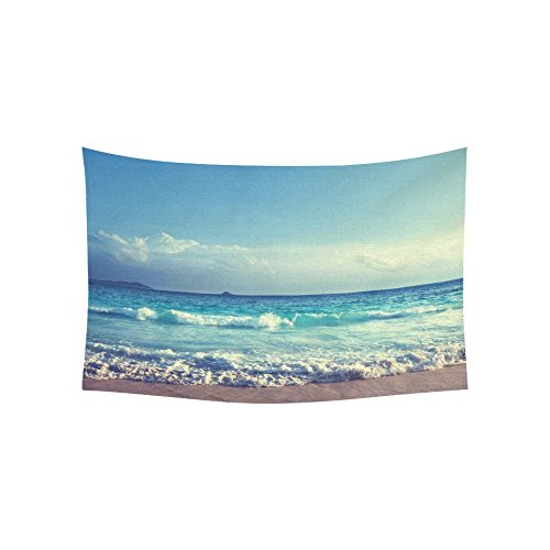 InterestPrint Ocean Wave Decor Collection, Seychelles Beach in Sunset Time, Navy Blue White Cotton Linen Tapestry Home Decor Wall Hanging Art Sets 40 X 60 Inches