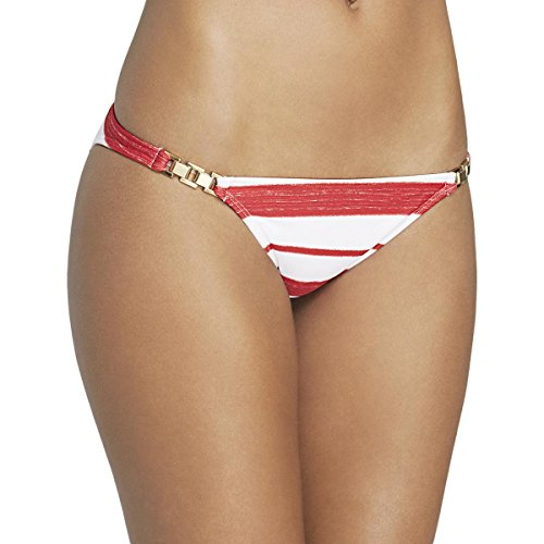 ViX Paula Hermanny Womens Striped Chain Detail Swim Bottom Separates Red L - Chain Detail Bikini