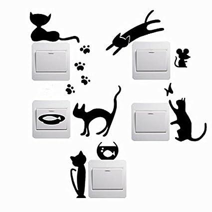 5 Pegatinas silueta gato color negro pared vinilo decorativo interruptores luz mascotas perros gatos clinicas veterinarias