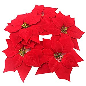 HMILYDYK 30PCS Christmas Decor Artificial Flowers Red Poinsettia Xmas Tree Ornaments 8 INCH Red Flowers 5