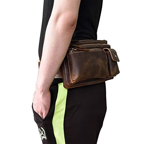 Cintura de Multifuncional Bolso al de Libre Mochila de Paquete Viaje Oscuro Hombro Piel Hombres Crossbody Genuina Bolsa Deportiva Bolsas Marron para Aire Bolso de OMMILA ECpqx5w