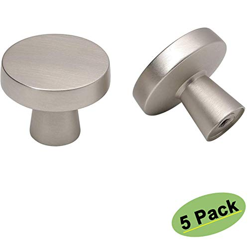 homdiy Brushed Nickel Cabinet Knobs - 5 Pack Round Silver Drawer Knobs Cupboard Knobs Morden Kitchen Cabinet Hardware LS5310SNB