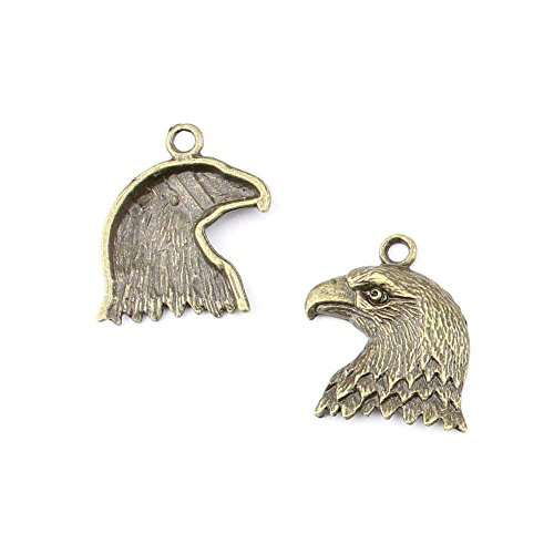 30 pieces Anti-Brass Fashion Jewelry Making Charms 2950 Eagle Head Wholesale Supplies Pendant Craft DIY Vintage Alloys Necklace Bulk Supply Findings