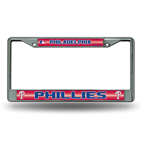 (Rico MLB Philadelphia Phillies Bling License Plate Frame, Chrome, 12 x 6-Inch )