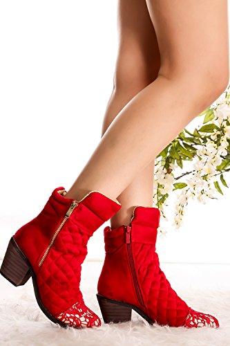 Lolli Couture Forever Link Wildleder Material Seitlicher Reißverschluss Schnalle Pelzbesatz Akzent Chunky High Heel Booties Rot-Jones-3