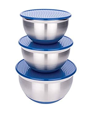 MIU France Stainless Steel Mixing Bowls with Blue Plastic Lids, Set of 3