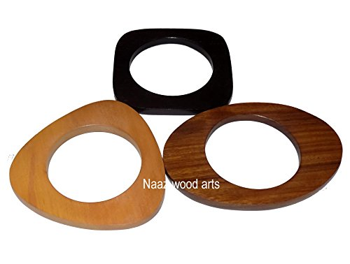Naaz wood arts trangle wooden bangle natchural wood 3 pcs set flat and smoth buff finish -