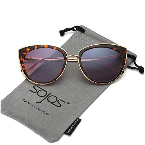 bc85ddf502c96 SojoS Retro Fashion Cat Eye Women Sunglasses Metal Frame Mirrored Lenses  SJ1002 Gold Frame Demi Brown Lens Review