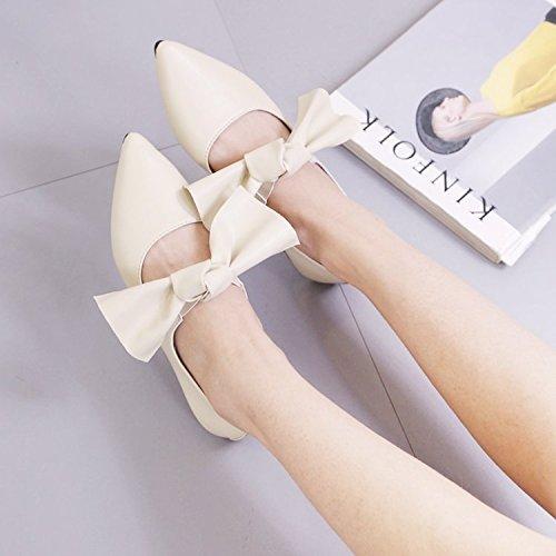 luz la de Yellow Black con simples Sweet zapatos amarre trabajo de la inferior Xue Bow cómodos Punto de parte Qiqi Tie zapatos de FnwR7P