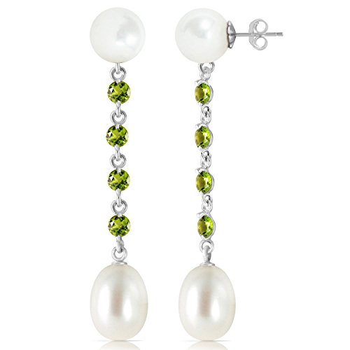 11 CTW 14K Solid White Gold Deceitful Games Peridot pearl Earrings