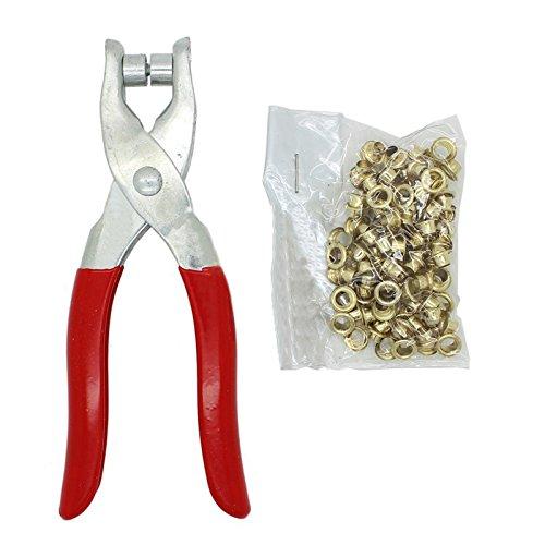 Hrph DIY Grommet Pince à œillets Ultra-Résistante avec 100 œillets pour le Tissu Papier Sac Chaussures Yeux Clamp AEQW-WER-AW146028