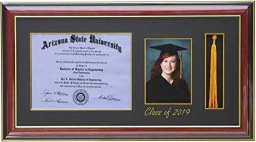 (3art H-Diploma 11x8.5 Tassel 5x7 Picture Frame 2019 Mahogany (Customizable))