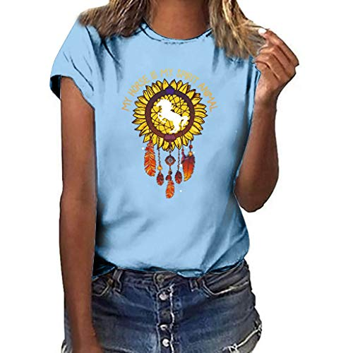 LONGDAY Women Plus Size Summer Short Sleeves Sunflower T-Shirt Tunic Girls Top Casual Print Tee Crew Neck Loose Blouse Sky Blue