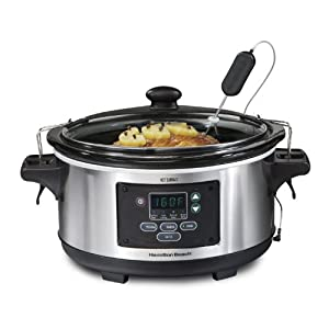 Hamilton Beach Portable 6-Quart Set & Forget Digital Programmable Slow Cooker With Temperature Probe, Lid Lock…