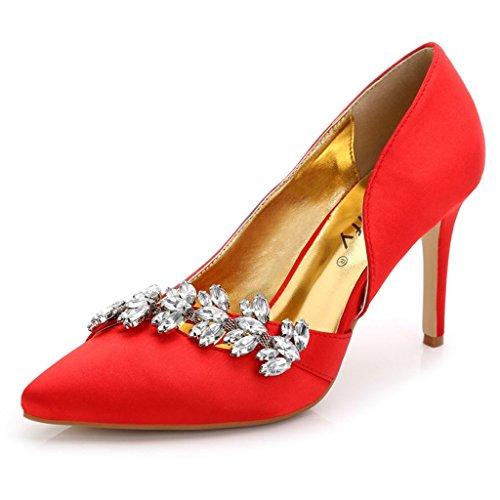 Doris Fashion TS889-82 Women's Evening Pumps High Heel Platform Silk Wedding Bridal Shoes Red 10 B(M) US