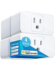 Meross Apple HomeKit Smart Plug Mini, 15A & Reliable WiFi, Support Siri, Alexa, Echo, Google Assistant, Nest Hub, and SmartThings, App Control, Timer, No Hub Needed, 4 Pack