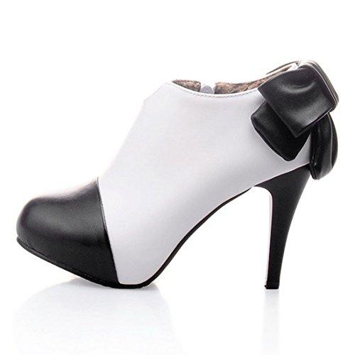 YE Damen Stiletto Geschlossene Pumps High Heels Plateau mit Schleife und 10cm Absatz Elegant Kleid Schuhe Weiß