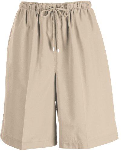 Coral Bay Womens Twill Drawstring Shorts Small Oxford tan (Tan Drawstring)