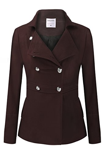 HAPLICA Women's Fashion Double-Breasted Classic Peacoat Solid Wool Blend Coat Warm Outerwear -