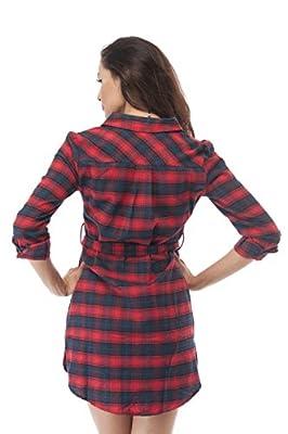 Plaid Flannel Long Shirt Sleeve Dress With Belt