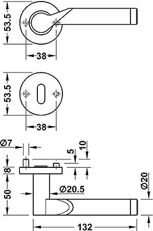 Modell LDH 2195 Baubeschl/äge von JUVA/® Edelstahl Bicolor Moderne Dr/ückergarnitur f/ür Zimmert/üren T/ür-Griff Set Edelstahl T/ürklinke auf Rund-Rosette Wechselgarnitur links