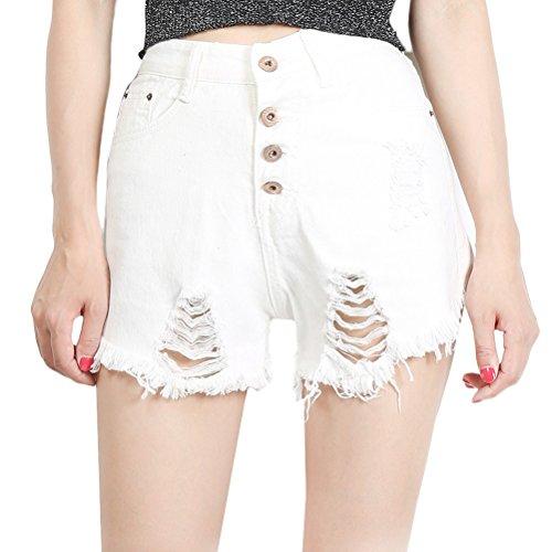 Zhuhaitf Popular Juniors Ladies High Waist Destroyed Ripped Washed Denim Shorts Washed Skinny Pants White
