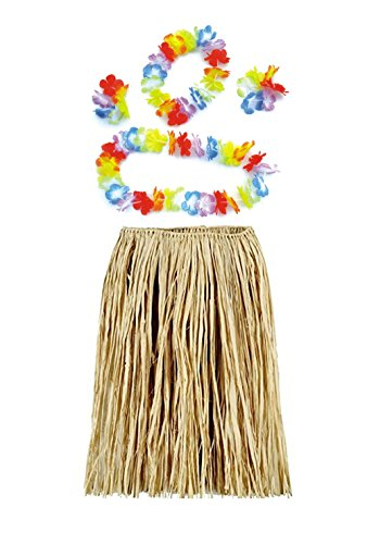 BOSHENG Hawaiian Luau Natural Raffia Grass Hula Skirt,Adult
