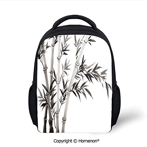 (3D Traditional Bamboo Leaves Meaning Wisdom Growth Renewal Unleash Your Power Artprint Printing Backpack Fashion Kids School Bags Bookbag,(12.2
