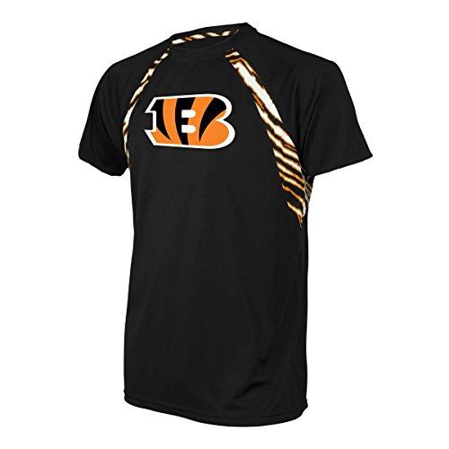 Cincinnati Bengals Shirt (NFL Cincinnati Bengals Men's Zubaz Zebra Accent Print Team Logo Short sleeve Raglan T-Shirt, Medium, Black)
