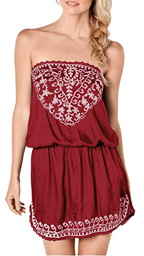 (Upopby Women's Mini Summer Beach Cover Up Strapless Dresses Printed Sleeveless Tube Top Mini Dress Wine Red S)