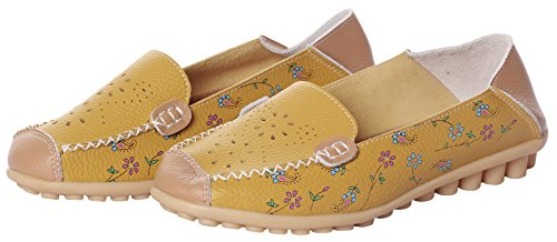Shoes Flat Loafers Leather Moccasins Yellow MEWOOCUE Driving Women's Loafer 2 Penny Slip Casual On qtPwqI