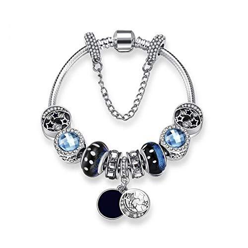 YUANOMSL Crystal Beaded Bracelet,Blue Beautiful Starry Sky Moon Pattern, Pendant Bracelet Handmade DIY Glass Beads Beaded Bracelet European and American Personality Beautiful Jewelry Gift,19Cm