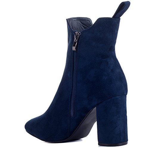 Simili Bottines Refined Spylovebuy à Bleu Chaussures Daim Talon Femmes Bloc w86qB16