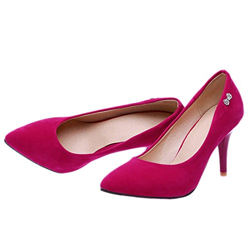 SJJH Court Shoes with Thin Heel and Suede Materail Working Heels with Large Red Sl68Fbkzr