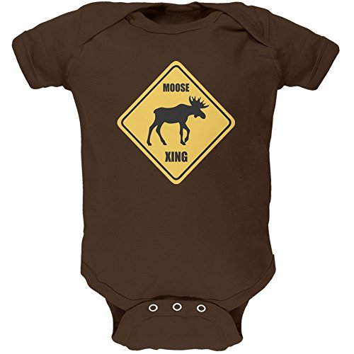 Animal World Moose Xing Brown Soft Baby One Piece - 3 Month