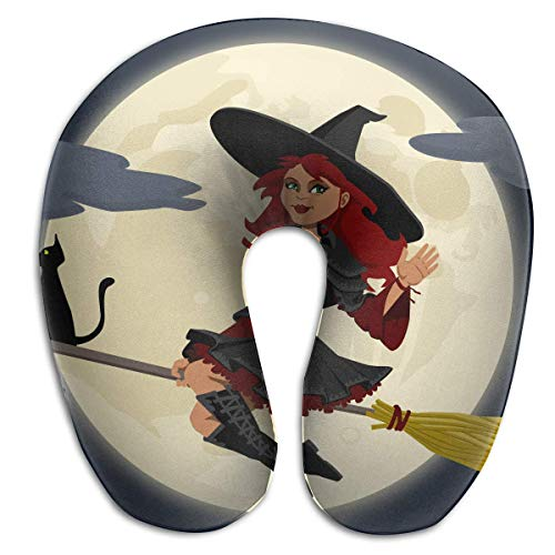 Neck Pillow Halloween Witch U-Shape Travel Pillow Ergonomic Contoured Design Washable Cover Airplane Train Car Bus Office