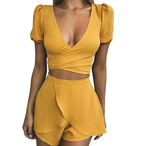 (Women 2 Piece Outfit Set Sexy Lace Cami Top and Shorts Set Clubwear Vest and Shorts Self Tie for Women Summer Sexy Bodycon Set)