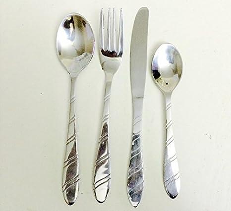 Acero inoxidable de lujo 16 piezas Luna llena cubertería (incluye 4 cuchara de mesa,