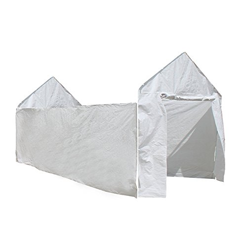By Outdoor Home Design Carport, Caravan Canopy, Car Tent, 10'x20', White, Enclosure Kit (Frame and Top Not (White Canopy Enclosure Kit)