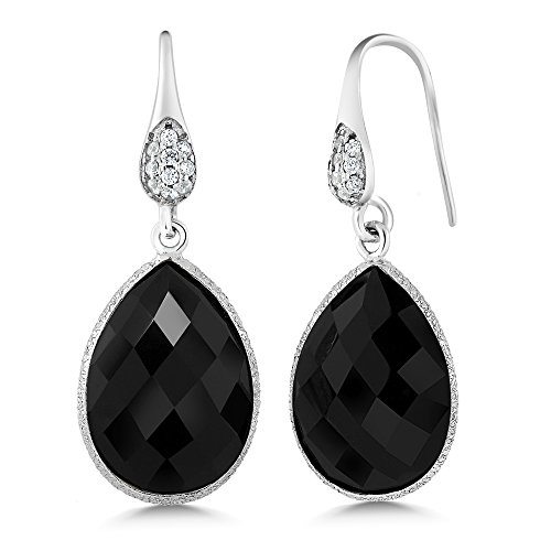 [12.00 Ct Pear Shape 16x12mm Black Onyx 925 Silver Dangle Earrings] (Dia Dangle Earrings)