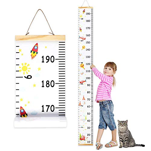 Wall Ruler Growth Chart Wood and Canvas | Baby Growth Chart for Boys and Girls | Space-Inspired Cartoon Patterns | Ready to Hang | 79 Inches x 7.9 Inches | Great for Nurseries, Bedrooms, Wall Decor]()