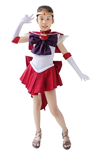 DAZCOS Girls Sailor Mars SuperS Hino Rei Fighting Cosplay Costume for Kids (Child Large) Red -