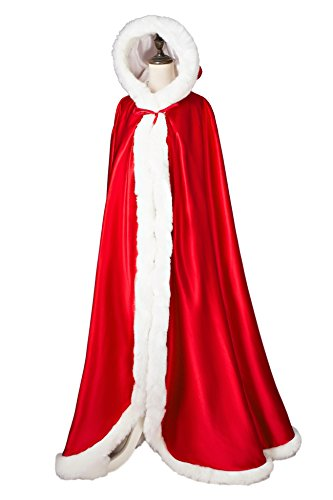 Femme BEAUTELICATE Capuche de Capuchon Marie Cape Fourrure Apple Manteau Chaude Longue Mariage Red de Hdrqxdwp