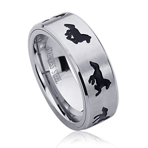 Prime Pristine 8MM Stainless Steel Mens Womens Rings Running Horse Engraved Comfort Fit Spinner Wedding Bands SZ: 9