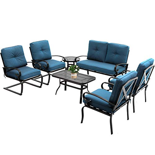 Oakmont 7Pcs Outdoor Metal Furniture Sets Patio Conversation Set Loveseat, 2 Single Chairs, 2 Spring Chairs and Coffee Table, Wrought Iron Look (Peacock Blue)