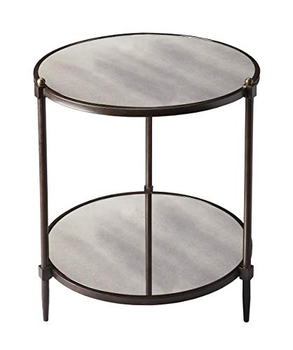 Butler Metalworks Gray Round Tubular Steel and Mirrored Glass Peninsula Mirrored Side Table