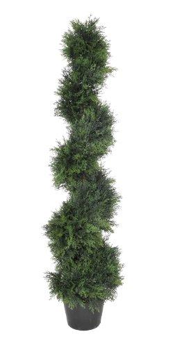 House of Silk Flowers Artificial Cedar Spiral Topiary, 4-Feet by House of Silk Flowers