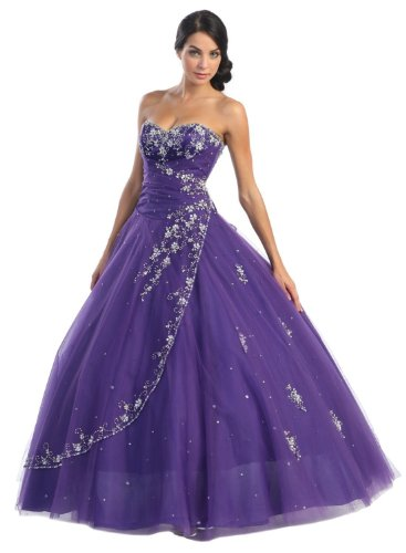 Ball Gown Formal Prom Wedding Dress #586 (6, Purple)